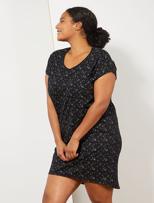 Chemise de nuit en coton                                         noir Grande taille femme