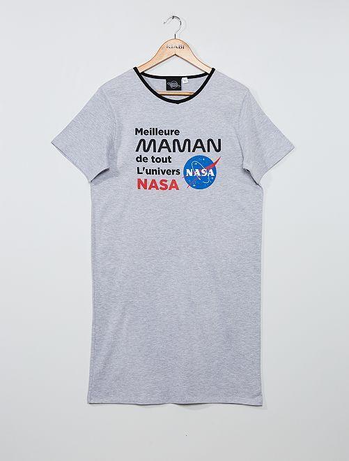 Chemise de nuit imprimé 'Nasa'                             gris chiné