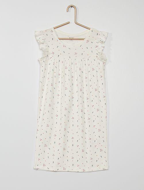 Chemise de nuit imprimée                             blanc