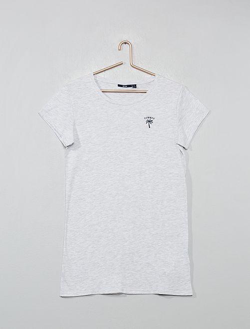 Chemise de nuit imprimée                                         gris chiné Fille adolescente