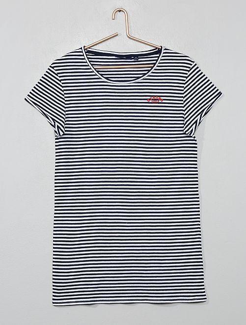 Chemise de nuit imprimée                                         marine/blanc