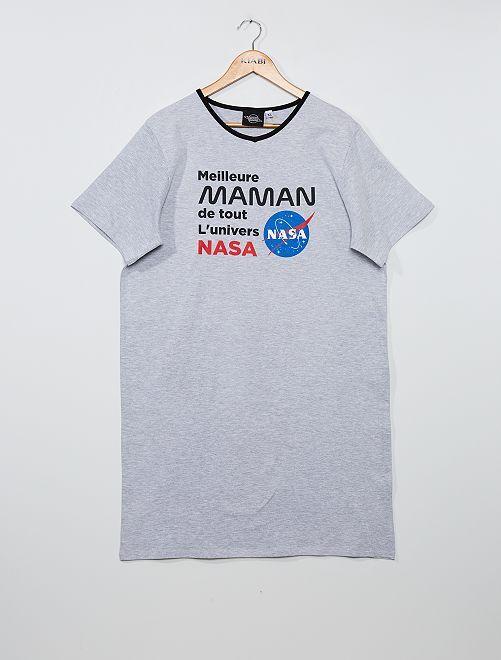 Chemise de nuit imprimée 'Nasa'                             gris chiné