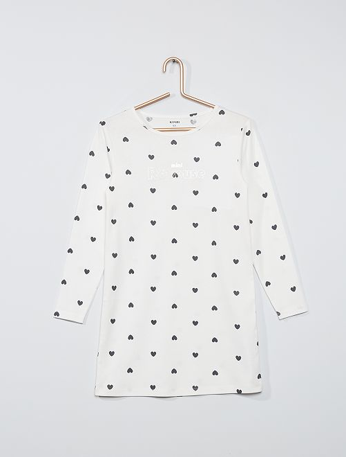 Chemise de nuit manches longues                                         blanc