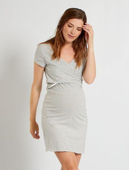 Chemise de nuit maternité                     blanc/rayures