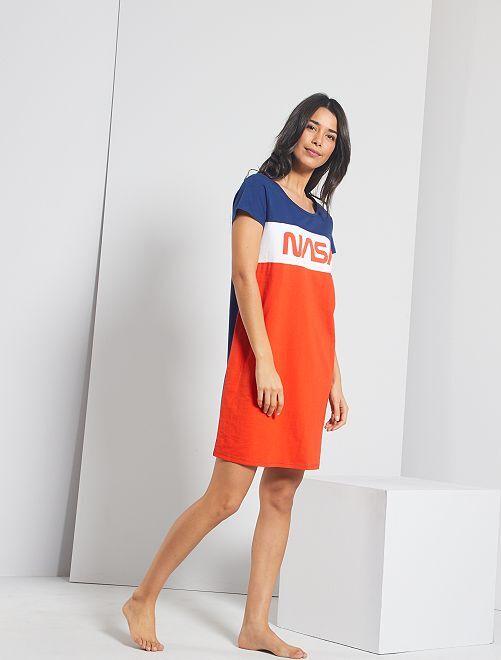 Chemise de nuit 'NASA'                             bleu/rouge