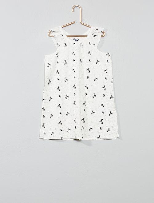 Chemise de nuit 'zèbre'                                         blanc