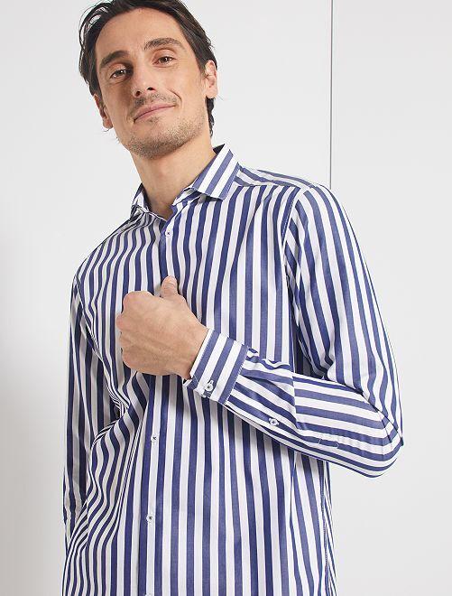 Chemise droite col italien                                                                             blanc/marine