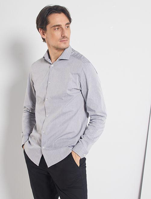 Chemise droite col italien                                                                             gris