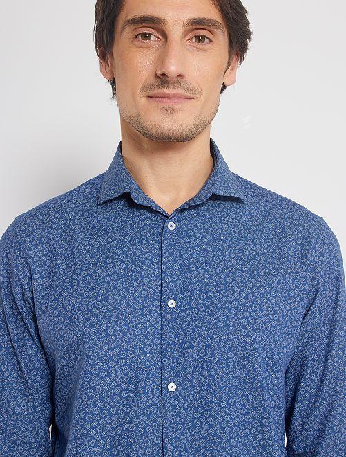 Chemise droite col italien                                                                             imprimé bleu/gris