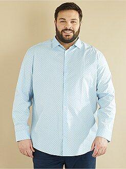 Grande taille homme - Chemise droite en popeline imprimée - Kiabi