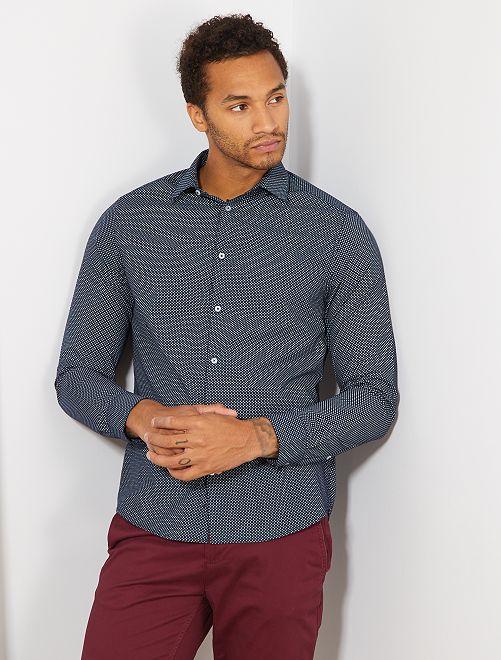 Chemise coupe droite en popeline                                                                     marine/bleu clair