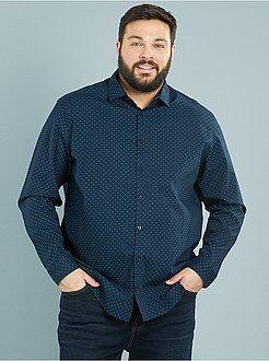 Grande taille homme Chemise droite imprimée en popeline