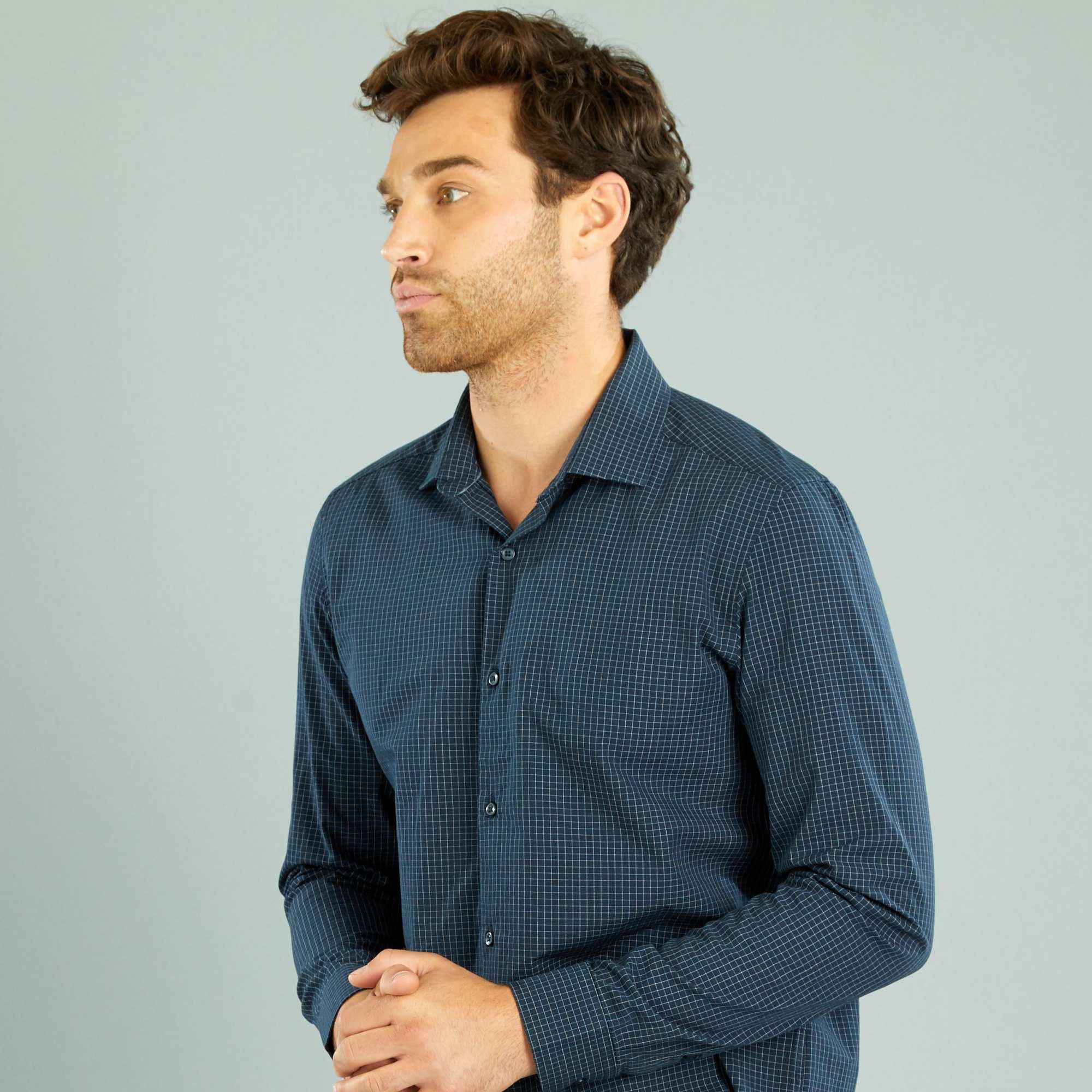 Couleur : marine carreaux, , ,, - Taille : M, S, ,,Coupe droite et belle popeline de coton : vous pouvez compter sur cette chemise pour