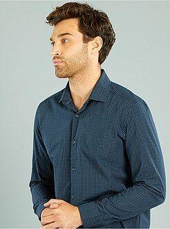 Chemise city - Chemise droite popeline à carreaux