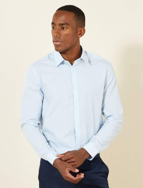 Chemise droite popeline à pois                                                     bleu ciel Homme