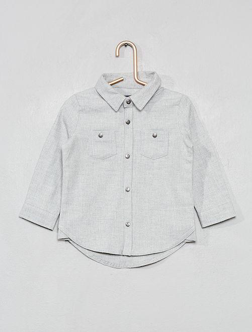 Chemise effet flanelle chinée                             gris