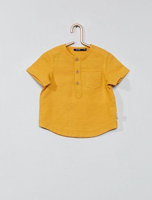 Chemise en coton et lin                                         jaune moutarde Bébé garçon