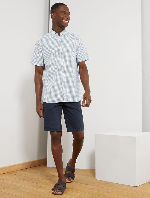 Chemise en coton gaufré                                         blanc/bleu gris