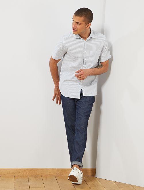 Chemise en coton gaufré                                 bleu gris/blanc