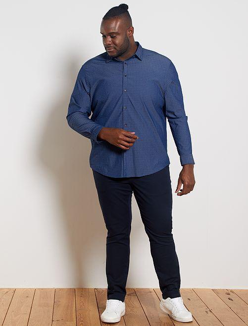 Chemise en coton texturé                             bleu