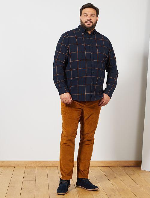 Chemise en flanelle à carreaux                             bleu marine