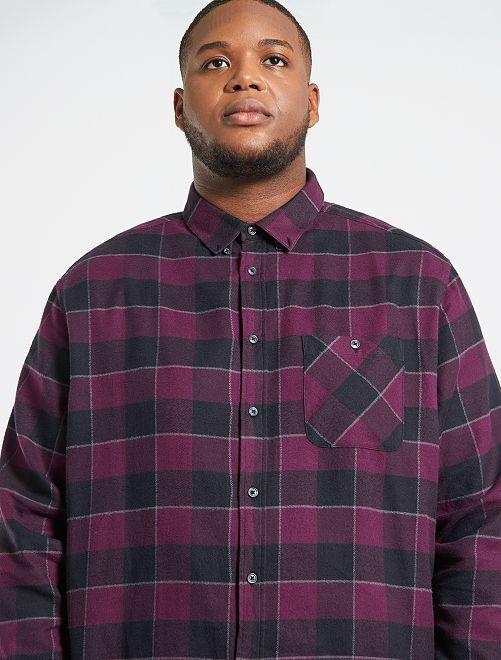 Chemise en flanelle à carreaux                             noir/violet