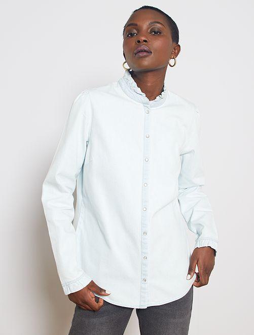 Chemise en jean à col volanté                     bleached