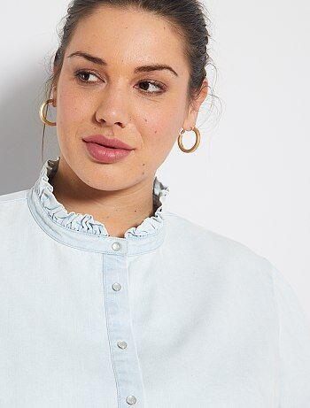 Chemise en jean à col volanté