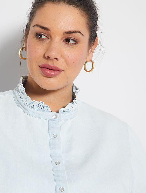 Chemise en jean à col volanté                     délavé