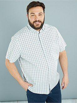 Grande taille homme Chemise en popeline imprimée coupe droite