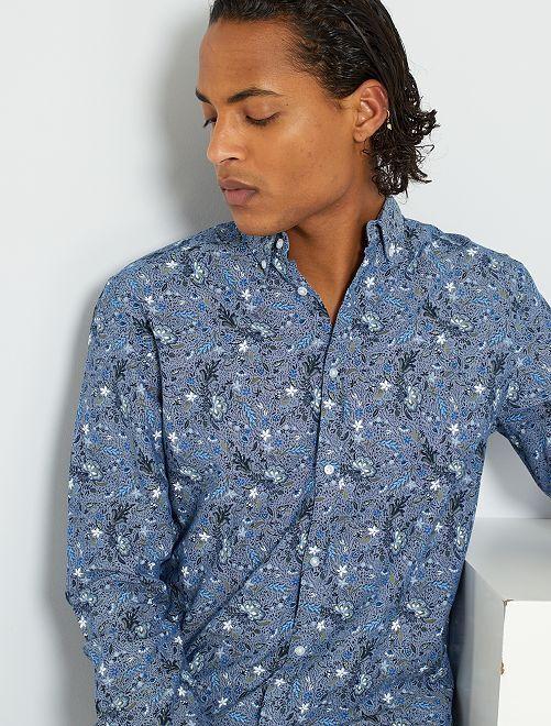Chemise en popeline pur coton                                         bleu