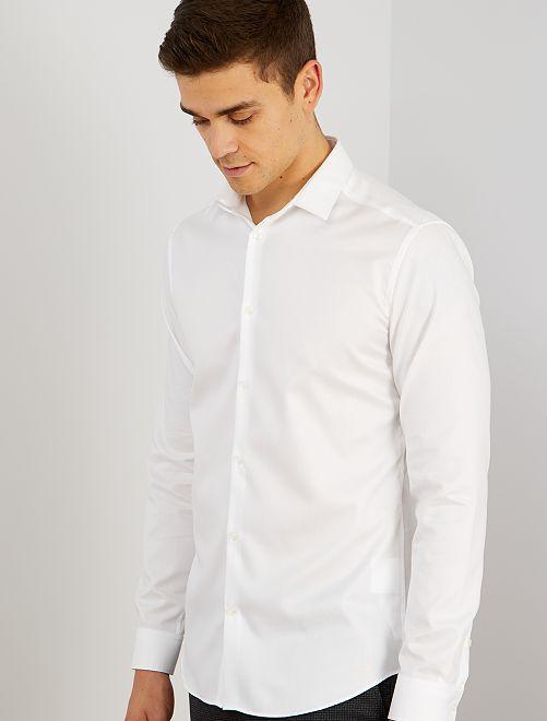 Chemise en popeline rayée                             blanc