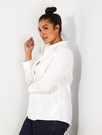 Grande taille femme - Chemise en popeline stretch - Kiabi