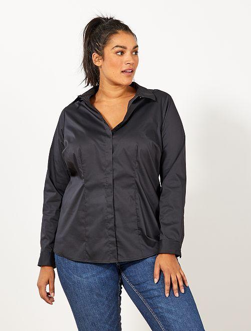 Chemise en popeline stretch                                                     noir Grande taille femme
