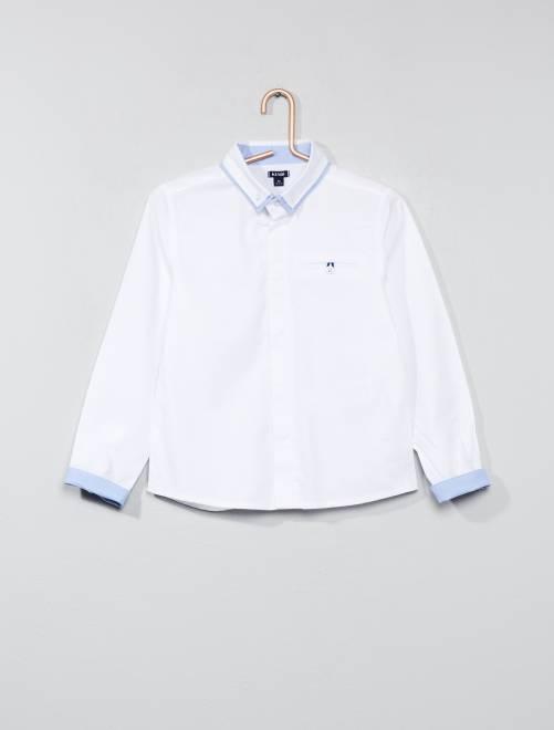 Chemise en pur coton texturé                             blanc