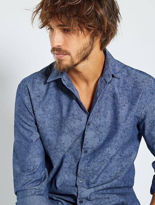 Chemise extra slim à fleurs                                                                             bleu fleurs