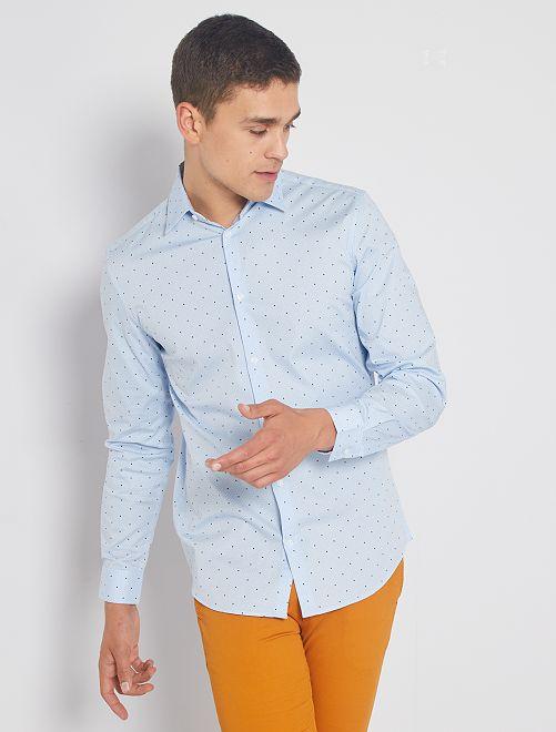 Chemise extra slim à pois                                                                             bleu ciel pois