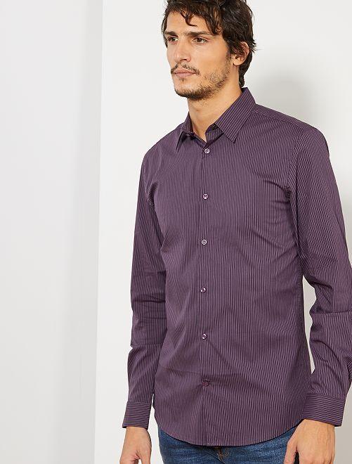 Chemise extra slim rayée                                                                             violet
