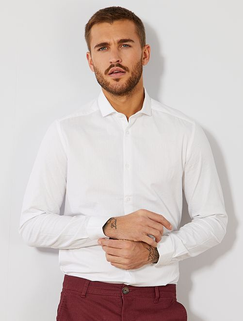 Chemise fitted en coton effet relief                                         blanc Homme