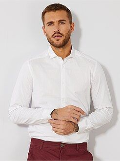 Chemise city - Chemise fitted en coton effet relief