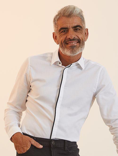 Chemise fitted en piqué de coton                             blanc