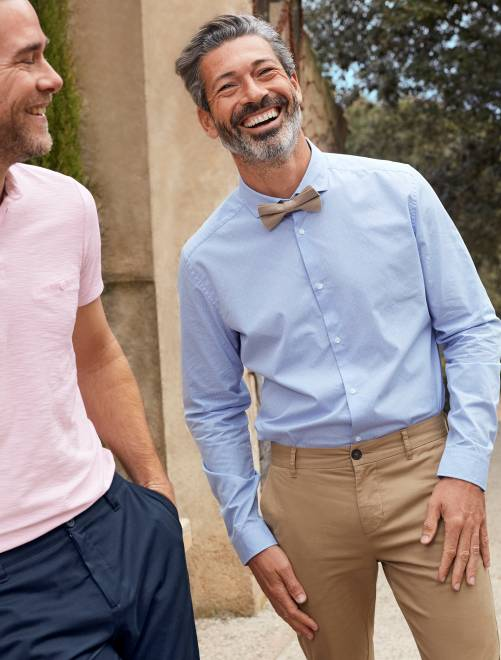 Chemise fitted en popeline à carreaux                                         bleu ciel Homme