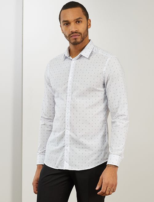 Chemise fitted en popeline à pois                                                                             blanc