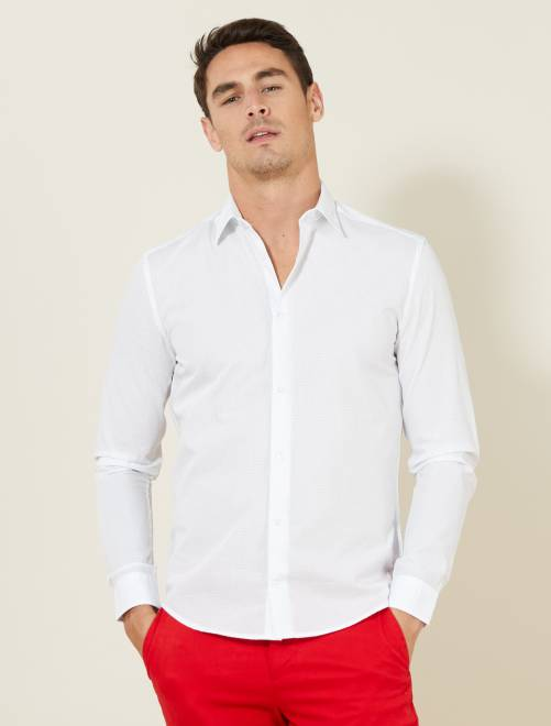 chemise fitted en popeline pois homme blanc pois. Black Bedroom Furniture Sets. Home Design Ideas
