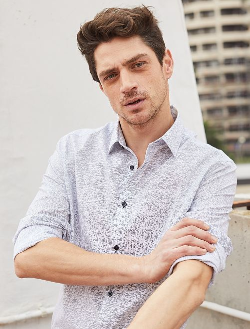 chemise fitted en popeline pois homme blanc v kiabi. Black Bedroom Furniture Sets. Home Design Ideas