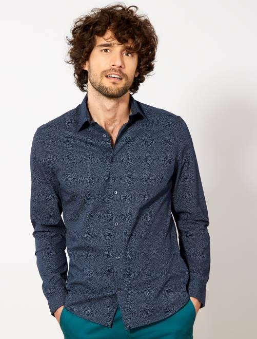 chemise fitted en popeline pois homme bleu marine v. Black Bedroom Furniture Sets. Home Design Ideas