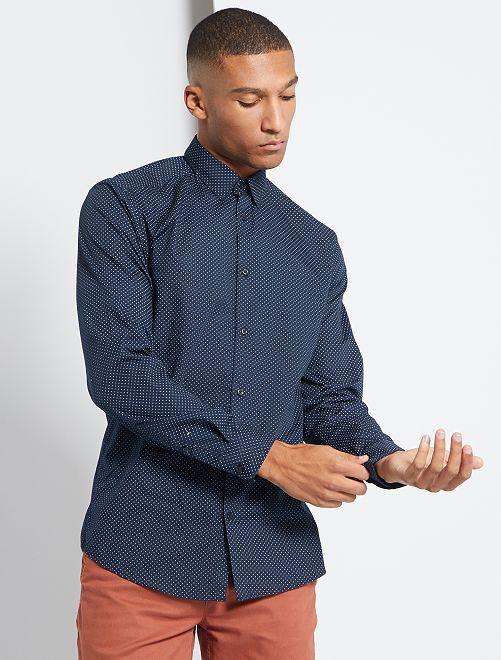 Chemise fitted en popeline à pois                                                                                                     bleu marine/pois