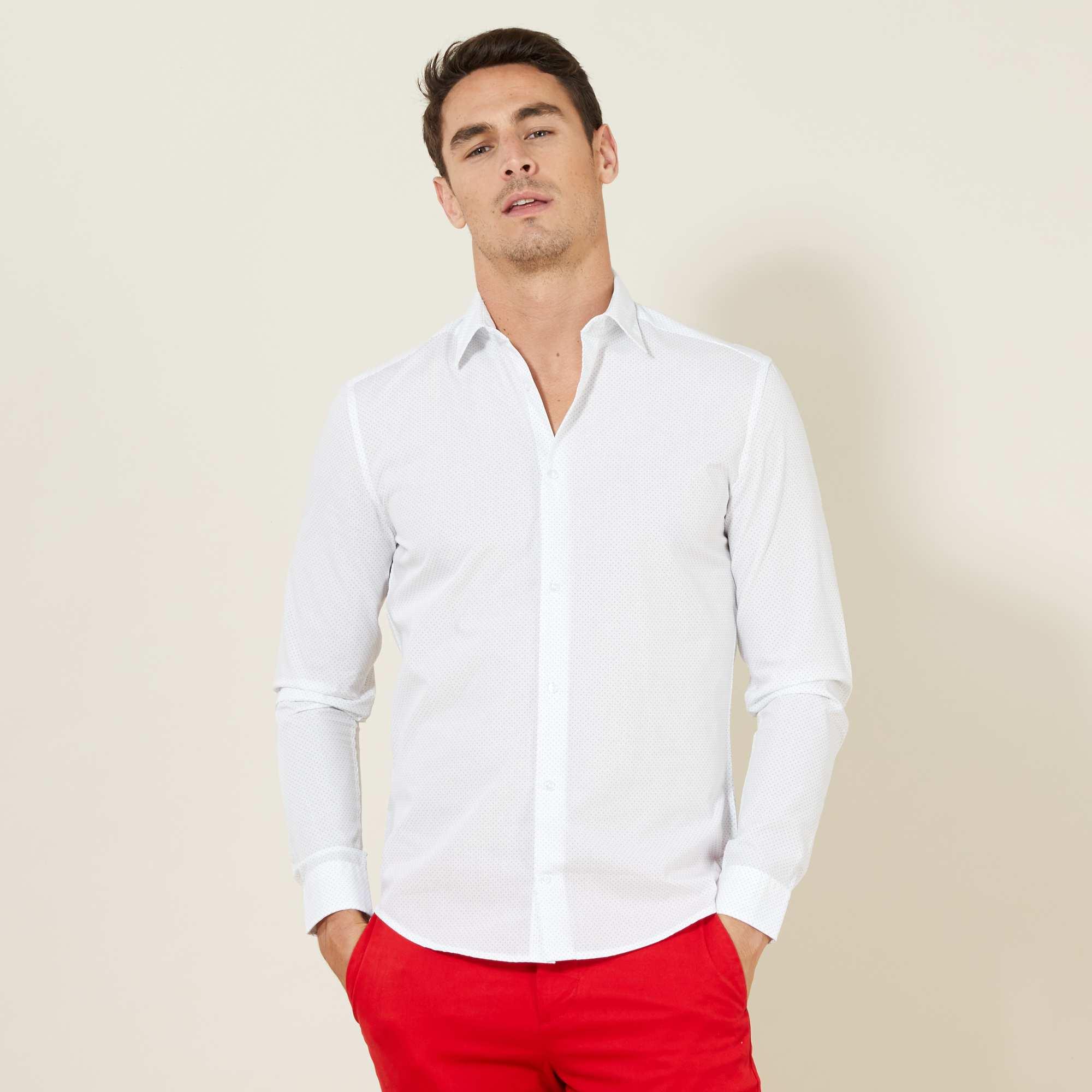 Couleur : blanc pois, imprimé bleu, ,, - Taille : XL, L, XXL,M,SLa coupe ajustée et le micro motif 'pois' discret font de cette chemise un must-have du
