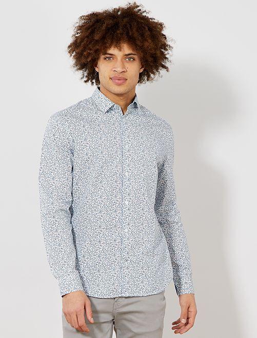 Chemise fitted en popeline à rayures et pois                                                                                                                                                     blanc/bleu fleurs Homme