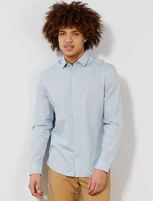 Chemise fitted en popeline à rayures et pois                                                                                                                                                     blanc/bleu vert losanges